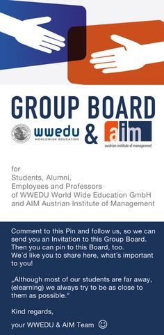 """Comment to this Pin and follow us, so we can  send you an Invitation to this Group Board.  Then you can pin to this Board, too.  We´d like you to share here, what´s important  to you!  """"Although most of our students are far away, (#elearning) we always try to be as close to  them as possible.""""  Kind regards, your WWEDU & AIM Team Group Boards, Professor, Students, Invitations, Education, Teacher, Save The Date Invitations, Onderwijs, Learning"""