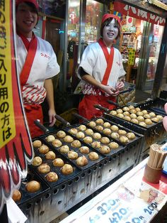 Takoyaki - Octopus balls, Osaka, Japan... I miss eating these at the festivals near my home when I lived in Japan.