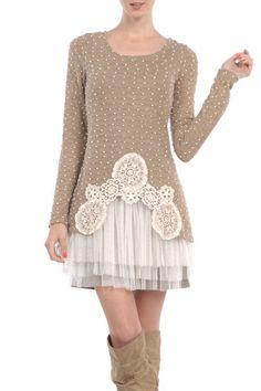 Modcloth Ryu Mocha Cream Sweater Tulle Dress Size S, M; NWT #Ryu #SweaterDress