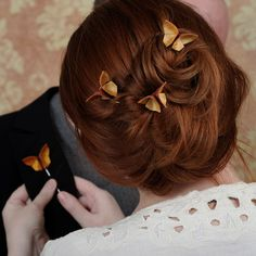 Wedding Hair Pins CUSTOM 3 Silk Origami Butterflies 100 COLORS Custom Made Fall Wedding Updo Hairstyle Warm Copper Pale Orange SMALL size. $42.00, via Etsy.