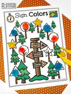 Forest Sign Shapes: Color Matching & Shape Recognition - Pre-k Camping Worksheets