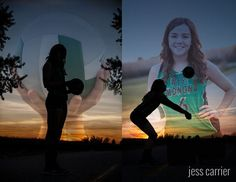 Silhouette Of Girl hitting the Volleyball With Her Face Composited in