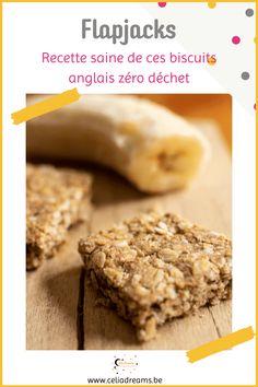 Flapjacks - #recette de biscuits zéro déchet à la banane et au flocons d'avoine. De délicieuses barres de céréales moelleuses et ultra saines à base de bananes trops mûres. Idéal comme collation ou pour le goûter. Avec seulement quelques ingrédients, cette recette est hyper facile et rapide à réaliser. Cuisine santé. #flapjack #avoine #banane #barre #céréale Biscuits, Banana Bread, Cereal, Desserts Sains, Breakfast, Coin, Recipes, Barre, Blog