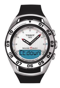 Sailing-Touch Men's Silver Quartz Watch With Black Rubber Strap