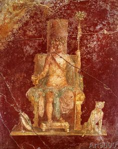 1. Jahrhundert - Bacchus on throne / Roman wall-painting