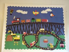 Transportation Theme Bulletin Board - children stick the vehicle to the surface it travels on Display Boards For School, School Displays, Preschool Bulletin, Preschool Activities, Transport Topics, Transportation Theme Preschool, Sport Videos, Classroom Inspiration, Infants