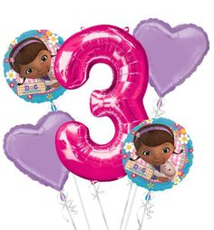 Doc McStuffins 3rd Birthday Balloon Bouquet 5pc - Party City