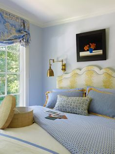 Blue and Yellow Bedroom - country feel. The Pink Pagoda: Jeffers Design Group (I love the headboard) Light Yellow Bedrooms, Blue Bedrooms, American Home Design, Boudoir, Headboard Shapes, Guest Bedrooms, Guest Room, Master Bedrooms, Beautiful Bedrooms
