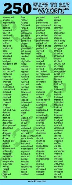 "250 ways to say ""went  """
