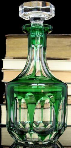 BUY on ETSY: Emerald Green Art Deco Cut Crystal Decanter for Whisky, Cognac, Wine / Mid Century German Barware & Bar Cart Accessories
