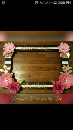Gold Floral Frame Photo booth prop with 3D flowers perfect for