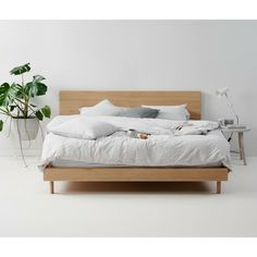 Leni Bed by Mubu Home - Wooden Bed Made From a Choice of Timbers Wooden Bed Base, Wooden Bed Frames, Timber Beds, Oak Beds, Oak Bedroom Furniture, Timber Furniture, Scandinavian Bedding, Scandinavian Furniture, Scandinavian Style