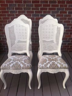 Beautiful White Cane Back Chairs And Seat Cushions