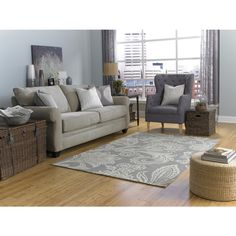 Shop allen + roth Rectangular Gray Floral WovenArea Rug (Common: 8-ft x 10-ft; Actual: 8-ft x 10-ft) at Lowes.com