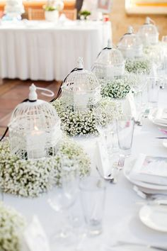 Baby's breath and birdcages with candles as whimsical wedding table decor - white wedding decor inspiration - unique wedding centerpiece ideas All White Wedding, Mod Wedding, Wedding Table, Wedding Reception, Wedding Vintage, Trendy Wedding, Spring Wedding, Perfect Wedding, Wedding Cakes