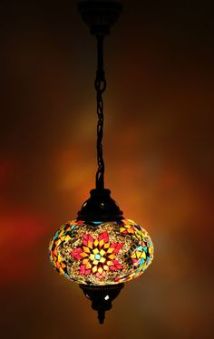 Multicolour Turkish Moroccan Style Mosaic Hanging Lamp Light Hand Made DY305