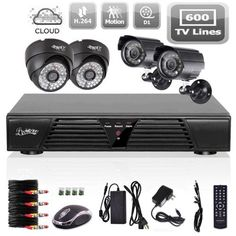 Liview 4CH CCTV Full D1 DVR Motion Detection 600TVL Outdoor Indoor Night Vision Camera System Home Security System Kits ** You can get additional details at the image link.(It is Amazon affiliate link) #liking