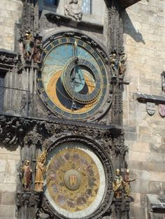 praha. This clock is in the city center. Here we watched the town celebrate their country's win in football