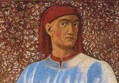 Poet, Scholar and Diplomat Giovanni Boccaccio: Detail of a fresco of Giovanni Boccaccio by Andrea del Castagno in the Uffizi Gallery, Florence