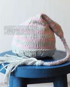 Newborn Valentine Knit Hat - I like the tassel better than the pompoms.
