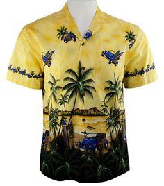 Ky's International VW Woody Fashion Men's Hawaiian Shirt, Yellow