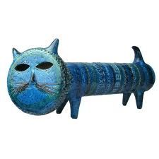 Abstract Ceramic blue cat.