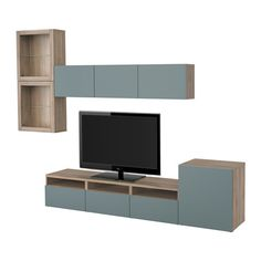 BESTÅ TV storage combination/glass doors - walnut effect light gray/Valviken gray-turquoise clear glass, drawer runner, push-open - IKEA