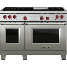"""Wolf DF486G-LP 48"""" Dual Fuel Range with 6 Sealed Burners & Griddle"""