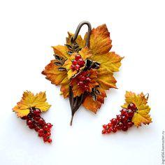 Купить Брошь и кожи Зонтик Осеннее настроение желтый с коричневым - украшения ручной работы
