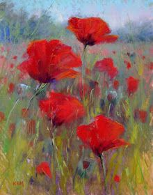 Painting My World: Field of Red Poppies 11x14 pastel