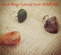 How to Make Rock Rings - Just Call Me Homegirl Rock Jewelry, Jewlery, How To Make Rocks, Rock Rings, Craft Projects, Craft Ideas, Ring Tutorial, Beautiful Rocks, Rock Painting