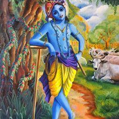 Shree Krishna, Krishna Art, Durga Maa Pictures, Krishna Names, Lord Krishna Hd Wallpaper, Sweet Lord, New Life, Gods Love, Painting