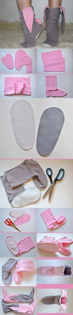 Slippers hares the hands Sewing Dress, Sewing Clothes, Diy Clothes, Bunny Slippers, Crochet Slippers, Sewing Hacks, Sewing Crafts, Sewing Projects, Fleece Hats
