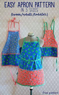 Free Apron Pattern 3 sizes (toddler/tween/adult)