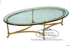 Italian Brass & Glass Hoof Foot Oval Coffee Table - Etsy.com ($595.00)