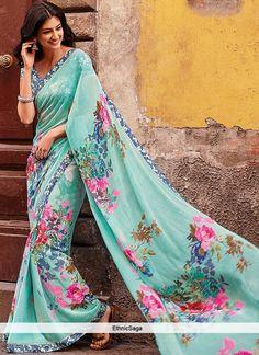 Amazing Turquoise Chiffon Floral Print Saree