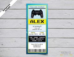 Video Game Invitation (Background Included) by KarinakdDesigns on Etsy