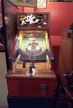 Skee Ball game at Memory Lane Arcade at Frankenmuth MI.   Antique arcade game/penny arcade/amusements/coin op/coin operarted