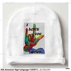 ASL American Sign Language I LOVE YOU MORE Baby Beanie