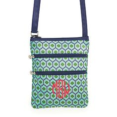 """Product # 2BB-230E Triple Zip - Emerald Mosaic 8""""W x 10""""H x 0.25""""D Wear as a crossbody or shoulder bag. The Triple Zip is always by your side! Features three zipper pockets with an adjustable shoulder strap measuring 1""""W x 27.5""""-55""""L. Coordinating aqua lining."""