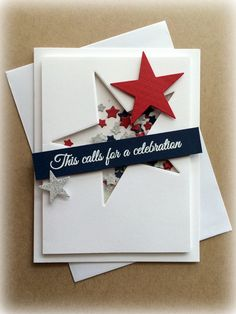 I love this shaker card from CAS-ual Fridays Stamps: Special Guest Designer… Cumpleaños Diy, Military Cards, Little Presents, Star Cards, Graduation Cards, Congratulations Card Graduation, Interactive Cards, Family Crafts, Card Making Inspiration