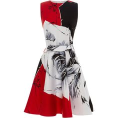 Prabal Gurung Rose-Print Flared Satin Dress ($630) ❤ liked on Polyvore featuring dresses, vestidos, short dresses, red, floral dress, short flare dress, mini dress and red rose dress