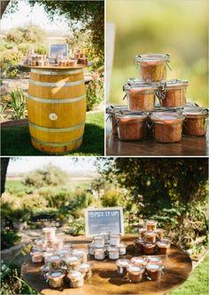 spice it up wedding favor station #weddingfavor #spiceitup #weddingchicks http://www.weddingchicks.com/2014/02/28/soft-summer-vineyard-wedding/