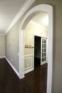 Arched panels and trim around doorway Arched Interior Doors, Black Interior Doors, Arched Doors, Arch Interior, Interior Trim, Archway Molding, Door Molding, Moldings And Trim, Crown Moldings