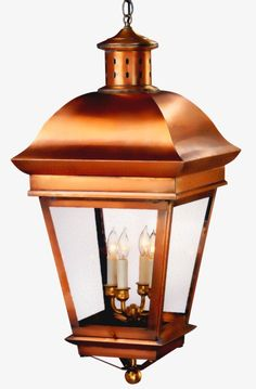 American Legacy Pendant Hanging Copper Lantern by Lanternland: The American Legacy Pendant Style Hanging Lantern, shown here in our Antique Copper finish with clear glass, is handmade in USA from high quality copper or brass. This pendant style hanging light, designed to last for decades and warrantied for life, will never will never rust or corrode. Easy online ordering, free shipping, choice of finishes and glass, custom options, lifetime warranty, UL listed, handmade, made in USA.