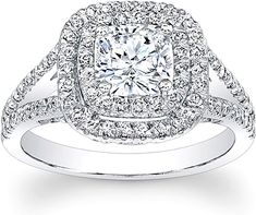 Double Halo Split Shank Diamond engagement Ring: This beautiful diamond engagement ring features round brilliant cut diamonds in a double halo around the center stone of your choice as well as round brilliant cut diamonds down a split shank. Double Halo Engagement Ring, Engagement Ring Settings, Diamond Engagement Rings, Cushion Cut Split Shank Engagement Ring, Wedding Ring Cushion, Cushion Halo, Cushion Diamond, Do It Yourself Fashion, Thing 1