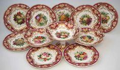 Set de sobremesa em porcelana Inglesa do sec.19th, 25cm de diametro, 10,280 EGP / 3,550 REAIS / 1,200 EUROS / 1,360 USD https://www.facebook.com/SoulCariocaAntiques