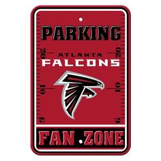 Show your team spirit proudly with this X Zone Parking Sign. Each x parking sign is made of durable styrene. The officially licensed parking sign is decorated in the team colors, great for decorating home, office or dorm. Spirit Store, Plastic Signs, Football Boys, Falcons Football, Parking Signs, Nfl Sports, Reality Check, Atlanta Falcons, National Football League