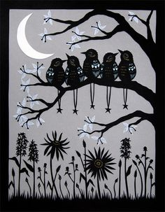 Night Class  Cut Paper Art Print by ruralpearl on Etsy, $37.00