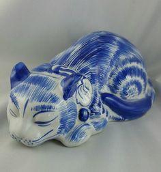 Vintage Ceramic Blue And White Cat Figurine, by EmptyNestVintage on Etsy